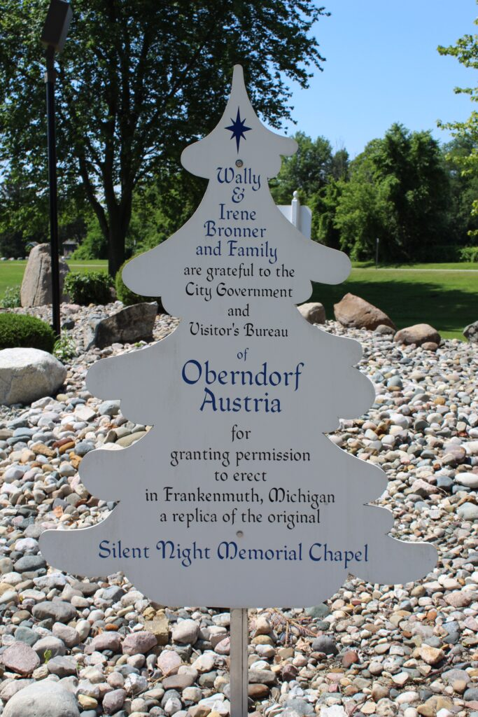 Educational sign about Silent Night Chapel Frankenmuth
