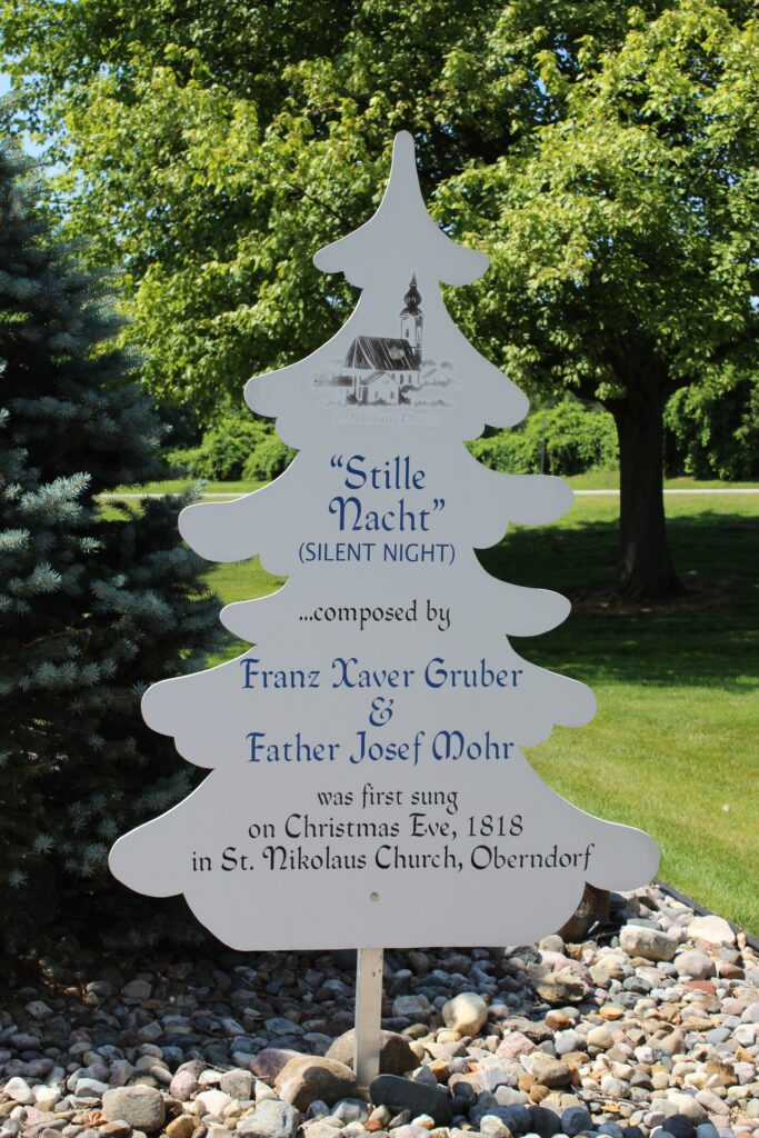 Educational sign about Silent Night Song