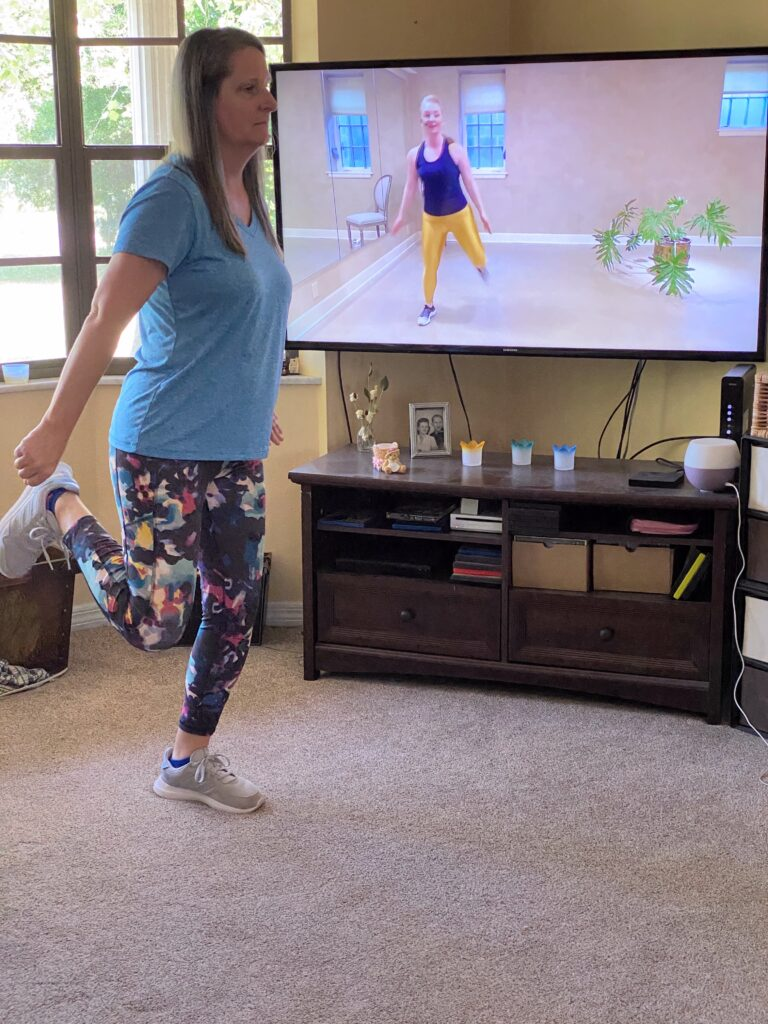woman doing at home exercise