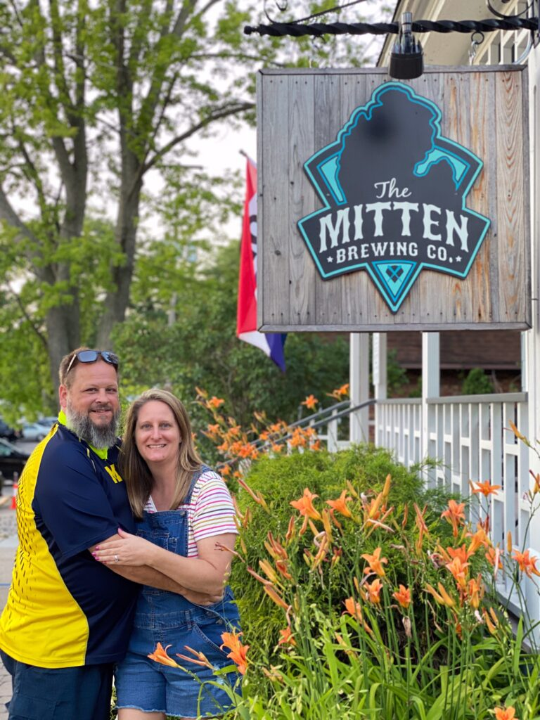 Couple by Mitten Brewing in Saugatuck