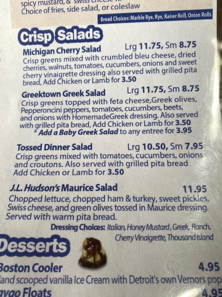 Salad menu at Detroit Coney Island