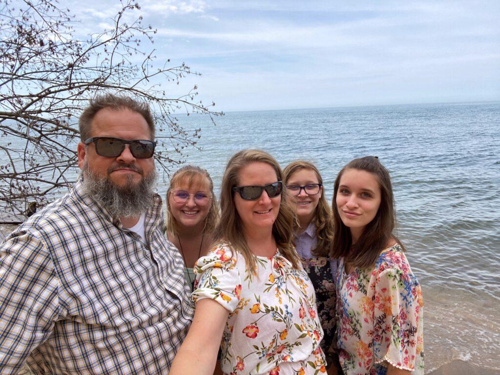 Family selfie on Lake Michigan