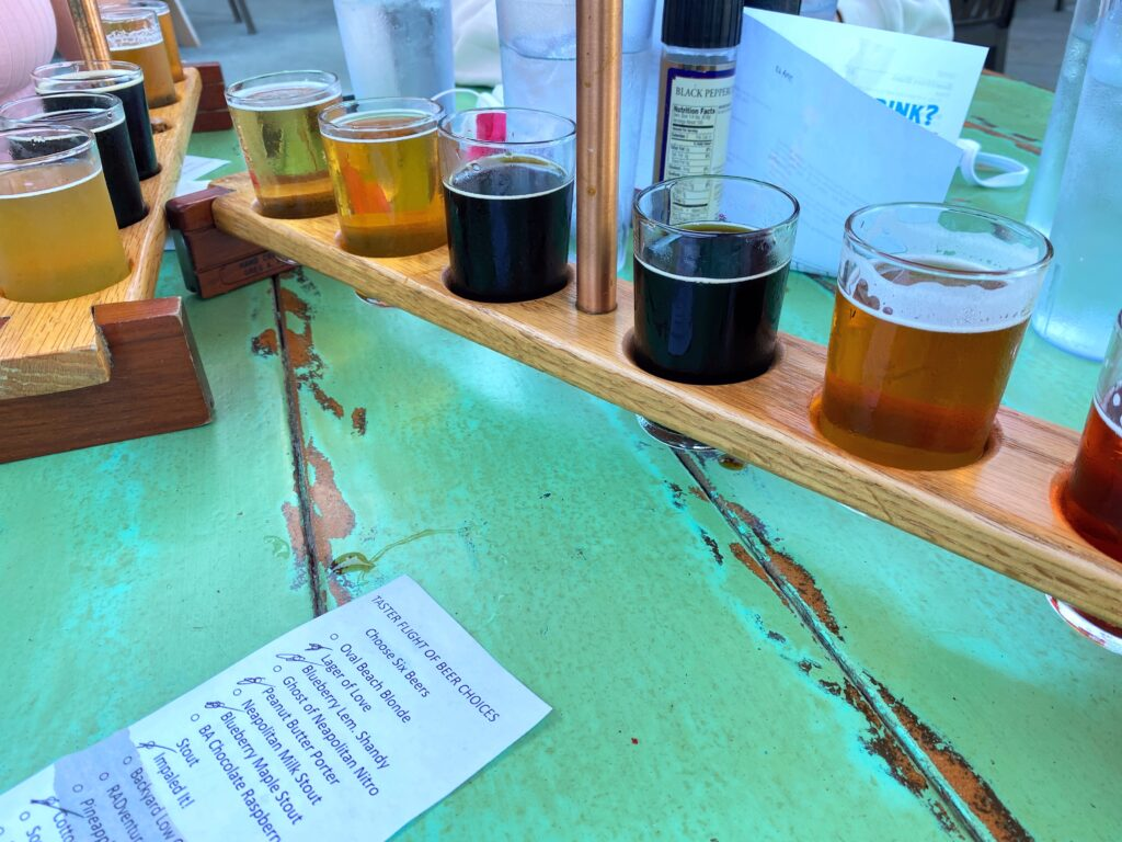 Beer flights at Saugatuck Brewing