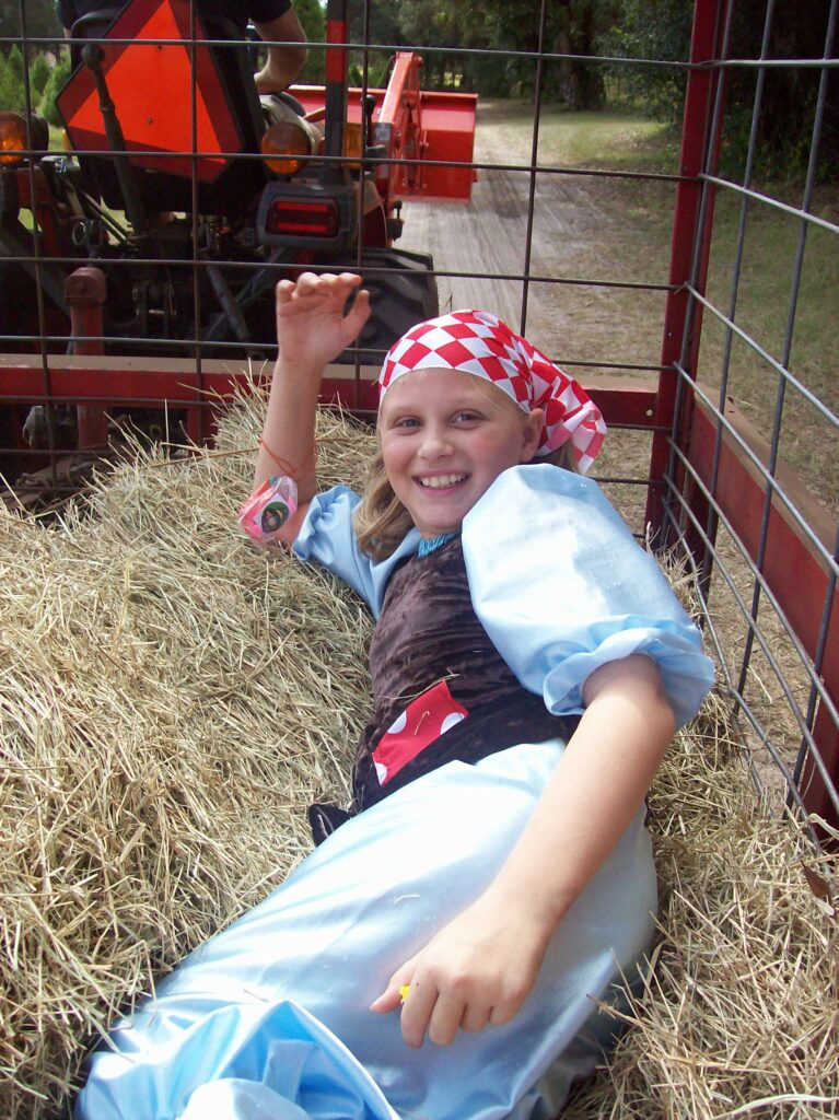 Hay ride at Santa's Farm