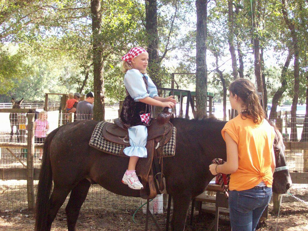 Pony ride at Santa's Farm