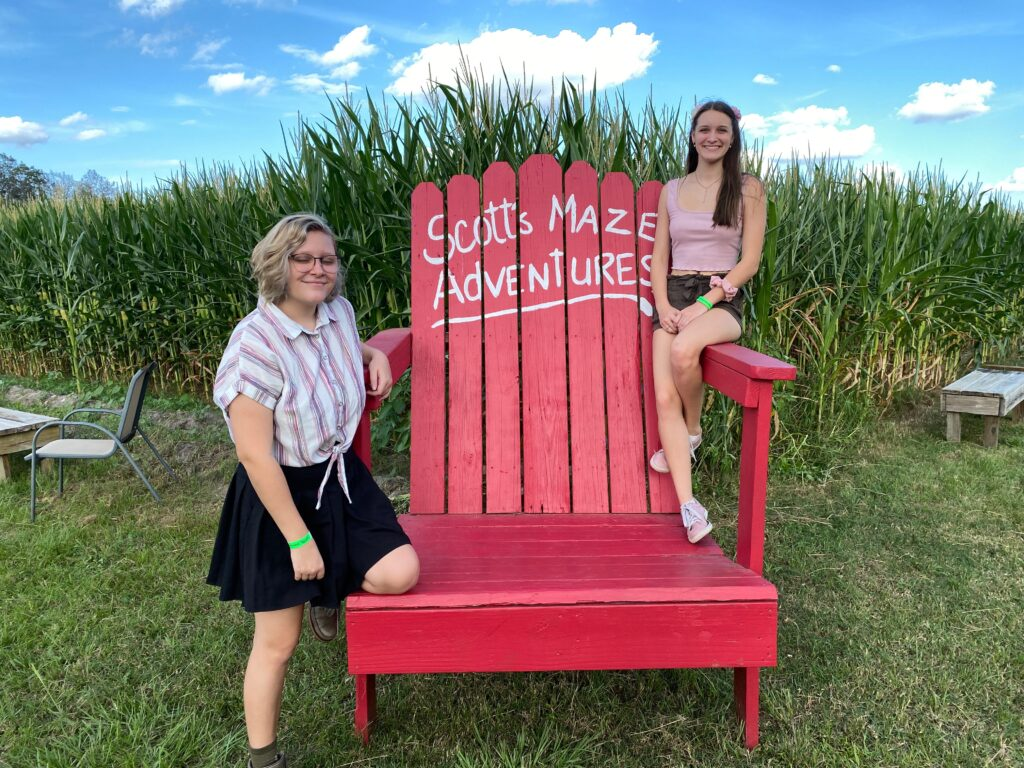 Big red chair at Long and Scott farms
