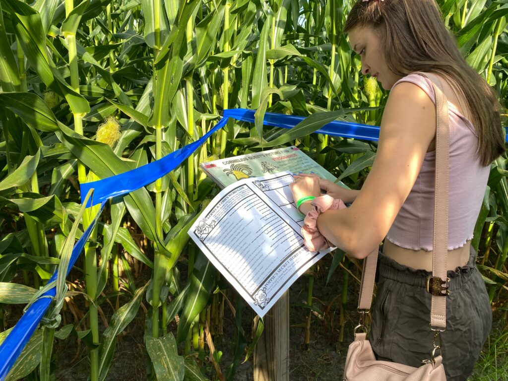 Check in station for Corn maze