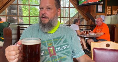 Man with beer at Smoky Mountain Brewery Gatlinburg